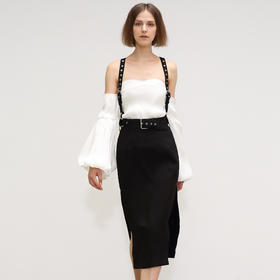 SYUSYUHAN 设计师秀场系列金属圆环可拆卸背带腰带高开衩直筒半裙