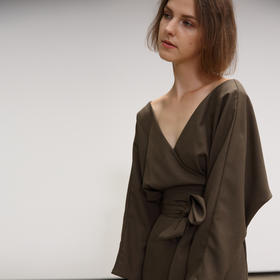 SYUSYUHAN设计师品牌 性感交叉大V领高开衩女人味包身绑带连衣裙