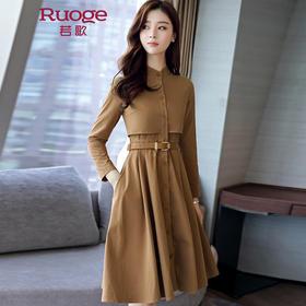 长袖纯色修身连衣裙  YM8923