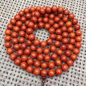 正宗印度小叶紫檀高密108颗手串0.8紫檀佛珠手链念珠男女底色漂亮鸡血红高油密