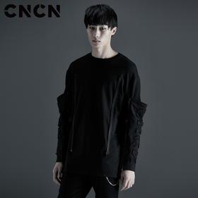 CNCN男装 秋季潮款个性卫衣 黑色街头潮流长袖T恤CNCT39004