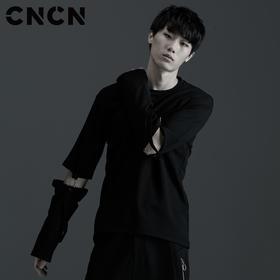 CNCN男装 潮牌弹力长袖T恤 黑色圆领袖子可拆卸CNBT39034