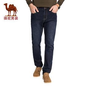 骆驼男装 冬季新款水洗直筒微弹中腰男士青年牛仔裤长裤D7X316528