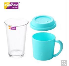艾格莱雅礼盒玻璃水杯带盖大容量杯子便携时尚创意耐热家用学生杯随手杯