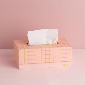 Domain系列纸质粉金格纹纸巾盒