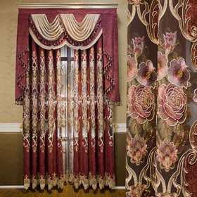【260】欧式窗帘豪华客厅 雪尼尔绣花窗帘布