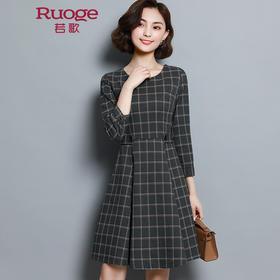 经典大格子修身连衣裙  JEYGA12