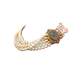多盘项链 海蓝宝 欧泊 地中海珍珠  银镀金