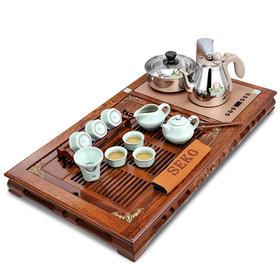 新功F64鸡翅木四合一茶具套装实木茶盘茶台