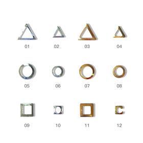 金属铆钉美甲饰品 镂空三角 镂空圆圈形 镂空方块 500颗/袋
