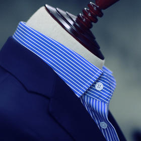 尊轩级男士蓝白条纹面料免烫英式衬衫
