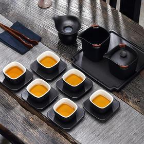 功夫茶具套装 家用陶瓷功夫茶具泡茶器黑纱釉简约茶壶茶杯整套