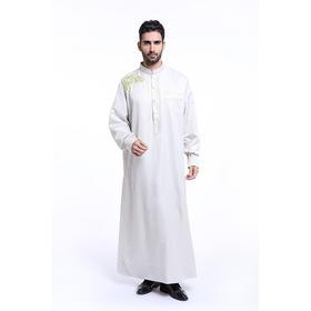 穆斯林男士绣花立领长袍,礼拜服