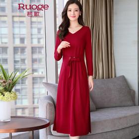 【赠腰带】系带收腰纯色连衣裙  OKYZ668