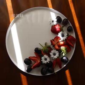 A级真骨瓷 蓝边圆形多用大浅盘 家宴 轰趴 下午茶 满包邮