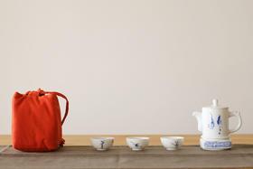 楚天茶道 古镇陶瓷便携茶具套组