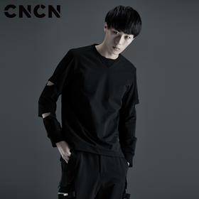 CNCN男装 秋季圆领黑色卫衣 长袖个性潮牌街头男上衣CNCH39052