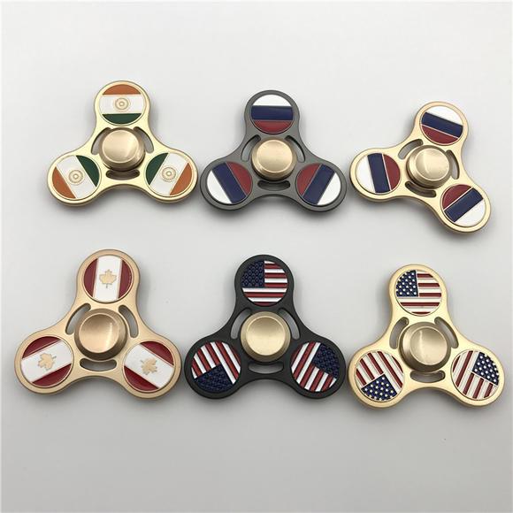 爆款手指陀螺美国国旗指尖陀螺手指旋转陀螺合金指压金属减压玩具