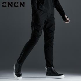 CNCN男装 黑色侧边拉链收腿裤 男修身弹力休闲裤CNCK39084