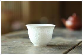 【骨瓷古钱杯】高骨高温白瓷反口茶杯