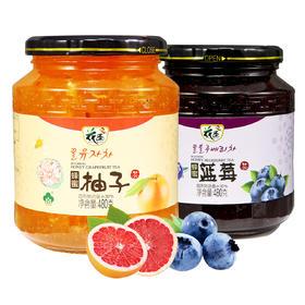 【送景德镇陶瓷杯勺】花圣蜂蜜柚子茶+蓝莓茶480g*2瓶 韩国风味果味茶花果茶水果酱冲饮品