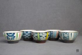 包邮 日本伊贺烧和风系 手绘陶瓷碗五个套装