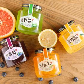 【送陶瓷杯】花圣蜂蜜柚子茶柠檬茶蓝莓芦荟茶238g*4瓶  韩国风果酱果味茶冲饮品