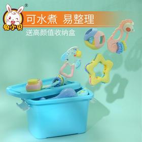 兔小贝婴儿玩具3-6-12个月可水煮牙胶手摇铃益智男孩女宝宝0-1岁