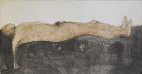 杨重光作品《父亲之死》246x128 丙烯水墨综合材料