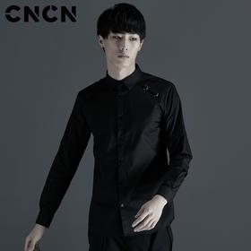 CNCN男装 秋季新品黑色修身方领衬衫 男士休闲长袖衬衫CNCC39029