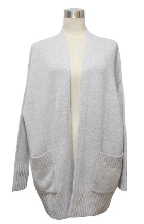 羊绒100% - 中长款双口袋开衫 - L015
