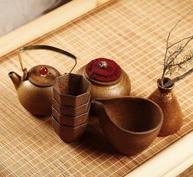 红泥茶器花器八件套 读者书房原创茶具套装 提梁壶可上火烹煮 适合普洱等浓色茶 赠送茶炉和炭