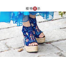 2017新款原创复古民族绣花羊皮坡跟松糕底凉鞋女夏