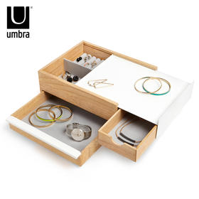 umbra四斗首饰盒木质高档化妆盒收纳盒饰品盒化妆镜手镯手链盒子