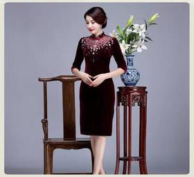 (特价款)QKC-T305星光灿烂丝绒七分袖旗袍TZF