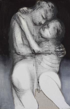 杨重光作品《静静的爱》 140x90 丙烯水墨综合材料
