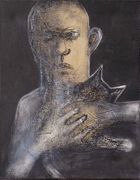 杨重光作品《伤感的青年》 50x40 丙烯水墨综合材料