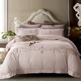 五星级酒店床上四件套全棉纯棉60支贡缎欧式刺绣纯色简约白