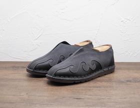 复古中式灰色套脚男士皮鞋