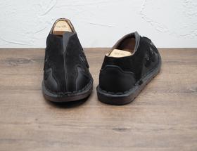 复古中式黑色套脚男士皮鞋