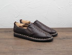 中式编织套脚软底男士棕色皮鞋