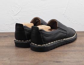 中式编织套脚软底男士黑色皮鞋