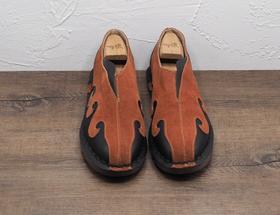 复古中式红色套脚男士皮鞋