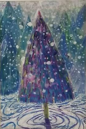 梅森作品《雪地松树》/ 33x22cm /   2013
