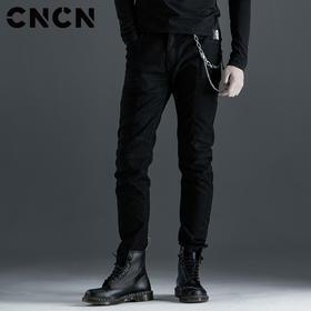 CNCN男装 秋季男士黑色修身微弹潮搭牛仔裤 CNCN52101