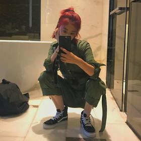 [屁侠.pippa]帅气 复古 工装连体裤 军绿色 送胸针