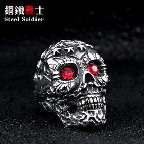 钛钢镶锆石雕花骷髅头指环