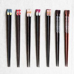 摩登主妇日式樱花指甲筷子尖头家用实木可爱餐具创意情侣筷子1
