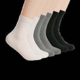 休闲纯色四季棉质中筒袜