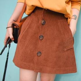 [屁侠.pippa]打call爆灯的灯芯绒 高腰 纽扣小A半裙 深棕色/红褐色